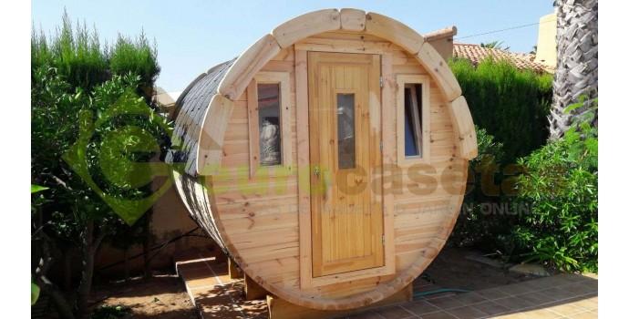 Caseta barril montada en denia eurocasetas casas de for Casetas de metal