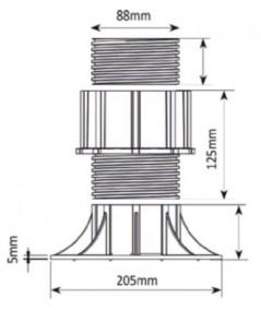 Soportes regulables con cabezal autonivelante,  120-170  mm