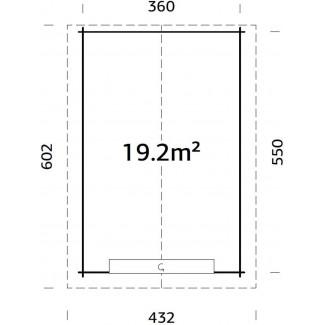 GARAJE DE MADERA TOMAS 19.2 m2  CON TEJADO METALICO Y PORTON SECCIONAL
