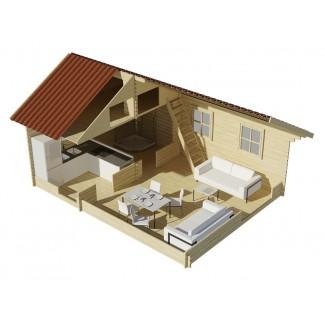 Casa de madera NOIA TWINSKIN  en pared doble 44-50-44