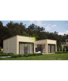 """Casa de madera  de diseño moderno  """"GARDA"""" 55 m2- 70 mm"""
