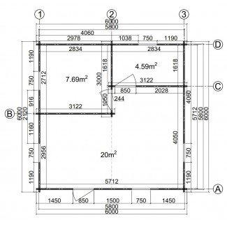 """Casa de madera  """"JULIA 6 , 36 m2  """""""