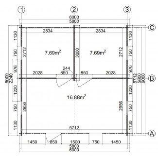 """Casa de madera  """"BERTA 6x6 , 36 m2  """""""