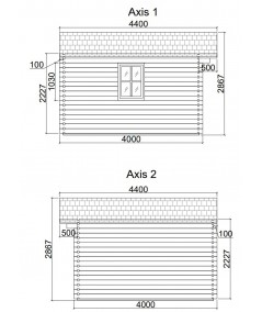 Caseta de jardin   GANDIA  5X4 , 20 m2 , 44 mm