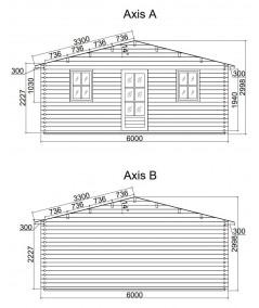 Caseta de jardín   GANDIA  6X4 , 24 m2 , 44 mm