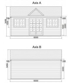 Casa de madera  LONDON 1  , 44 mm
