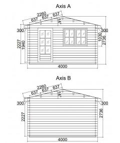 Caseta de jardín DENIA 4x4 , 44 mm