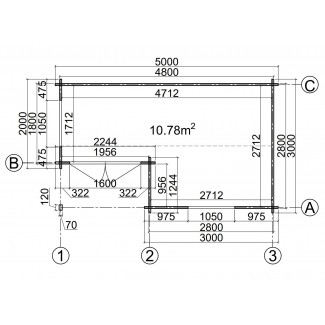 Caseta de jardin  ALPINA  5x3, 15 m2 - 44mm