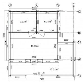 CASA DE MADERA EN DOBLE PARES ASTI TWINSKIN DE DOS PLANTAS , 44-50-44 mm