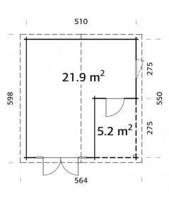 "Caseta de madera  "" IRENE 21,9 + 5,2 m2"""