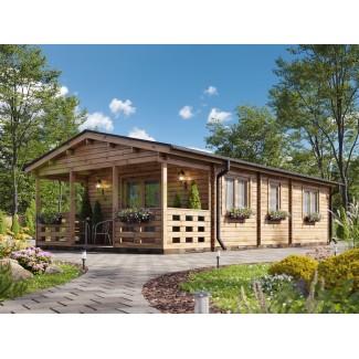 Casa de madera en doble pared LUGO TWINSKIN, 44-50-44 mm