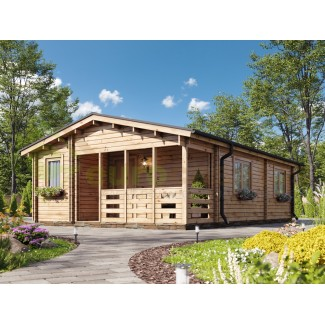 "Casa de madera ""ALMERIA TWINSKIN, 53 m2 "" en doble pared - 44 -50-44 mm"