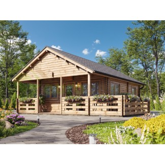 "Casa de madera  ""ASTI TWINSKIN , 64 m2"" en doble pared - 44-50-44  mm"