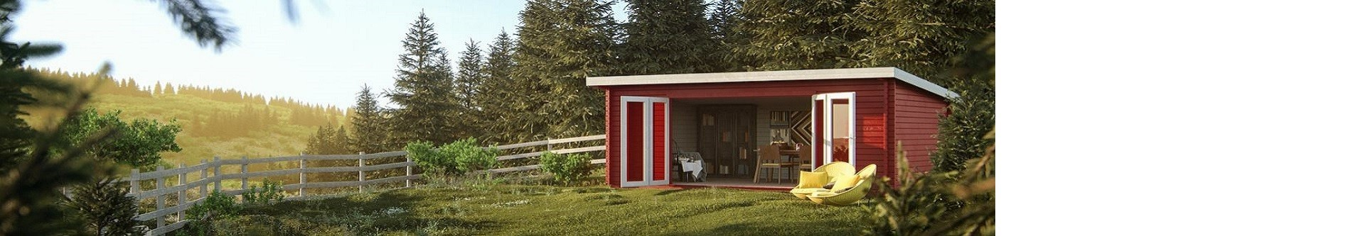 Casetas de madera con techo plano