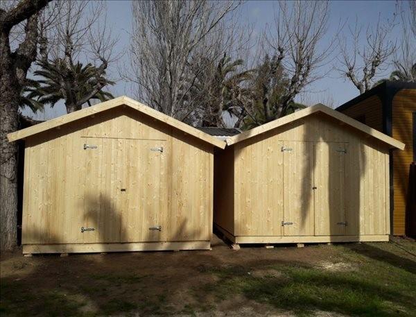 Montaje Trastero de madera NILS 12,1m² en Camping Montroig